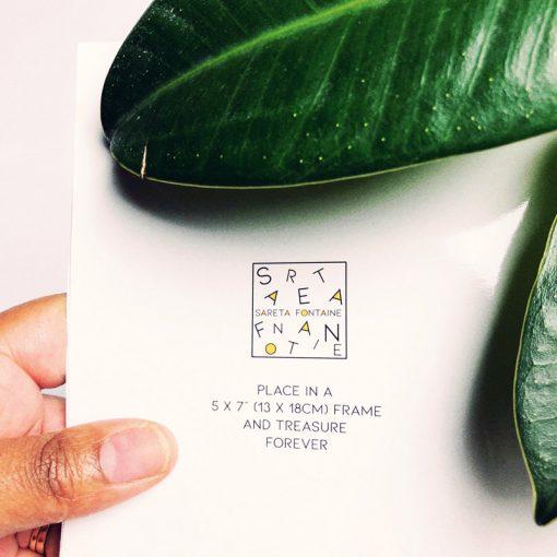Back of greetings card