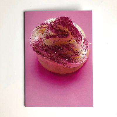 Glitter cake greetings card