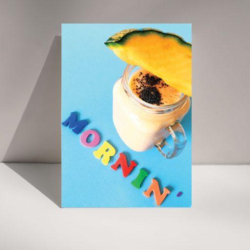 Mornin' melon - black greetings card